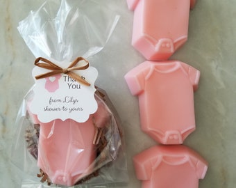 Rustic Handmade Soap Favor Baby Sprinkle Pink Baby One Piece Shirt Soap Baby Shower Favors with Custom Tags