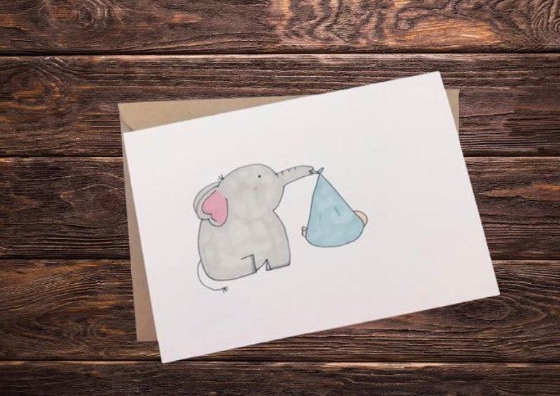 new baby card Elephant