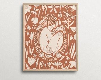 Wall Print, Feminine Goddess, Mother Nature Body Art, Terracotta, Naked Woman Body Illustration, Spiritual Art Poster, Boho Decor
