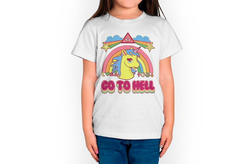 Father/'s Day Toddler Gift Kid Gift Toddler T-Shirt Toddlers Tee Go To Hell Unicorn Funny Kids T-Shirt Kids Tee Kid Birthday