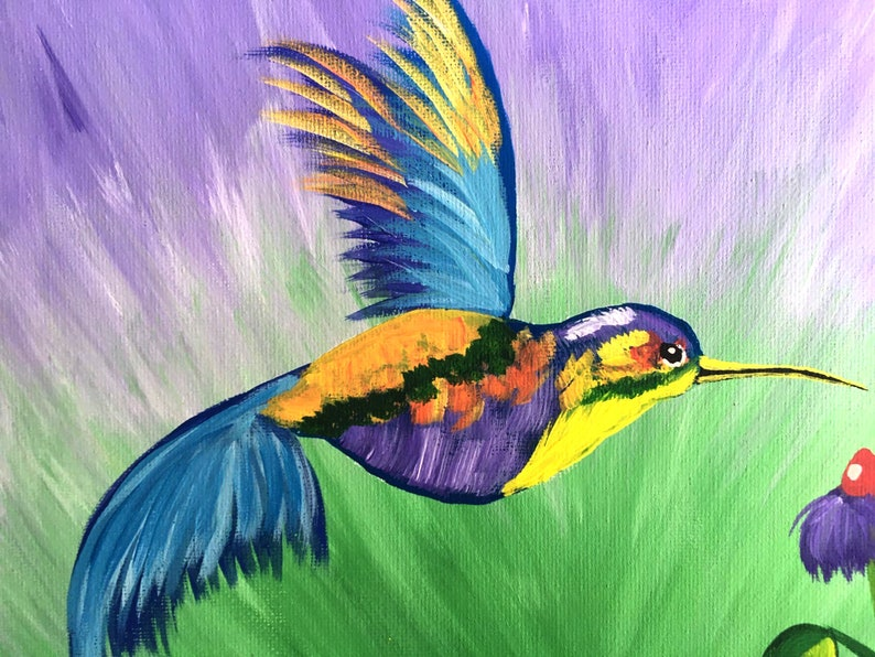 Hummingbird Painting Bird Original Art Impasto Wall Art Bird Painting Acrylic Painting Small Painting 13 by 8 by MyrikArt