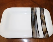 White Finds Petrified Wood - Rectangluar Fused Glass Platter
