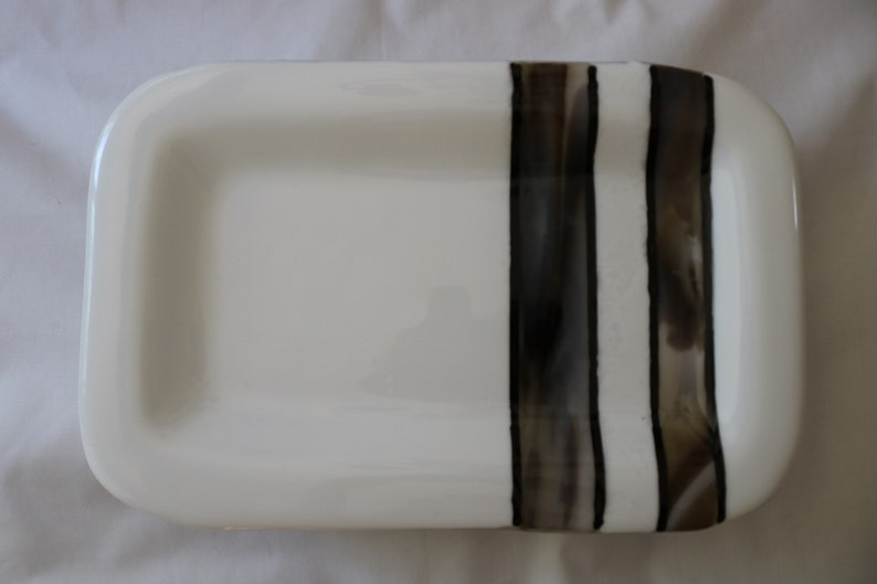 Rectangluar Fused Glass Platter White Finds Petrified Wood