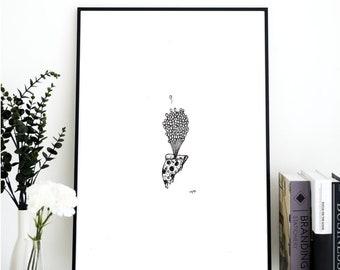 Pizza Art, Balloon Art, Pizza Print, Food Art, Black and White, Wall Decor