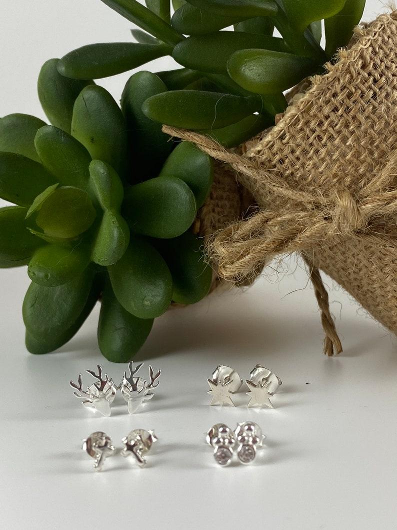 Pack of 2 Reindeer earring sterling silver 925