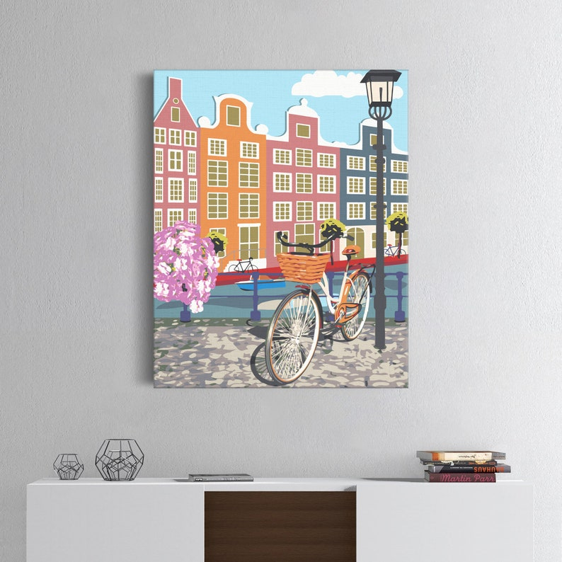 Acrylic Painting Architecture-Canvas Painting Art Design Old Town DIY Canvas Painting Number Kit Home Decor High-Quality Picture