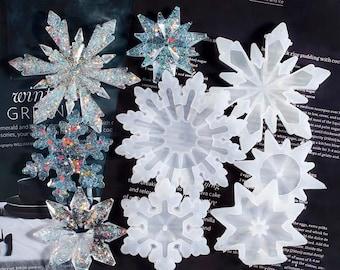 Snowflake Resin Molds, Snowflake Silicone Mold Resin, Snowflake Tag Molds, Christmas Tree Decoration Mold, DIY Epoxy Snowflake Keychain Mold