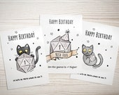 The Black Eye Birthday Card, Personalized D20 Dice Card, DSA Cat Gift for DM Boyfriend Husband RolePlay