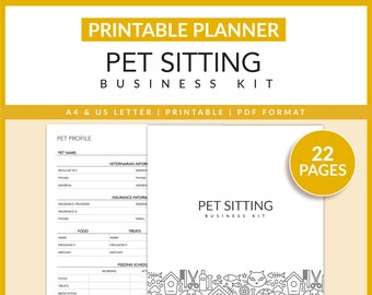 Pet Sitting Business Kit | Pet Business | Printable | Pet Sitter Agreement | Pet Profile | Cat Report | Dog Report | A4 | US Letter