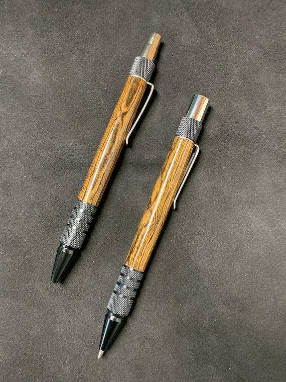 Custom Handmade Pen and Mechanical Pencil Set - Bocote Hardwood with Black Anodized Trim