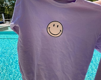 So Happy Embroider Smiley Face Comfort Colors Brand Sweatshirt Sunkissedcoconut™