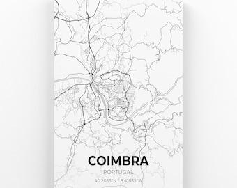 Portugal Antique Map  City Map 1901 Coimbra