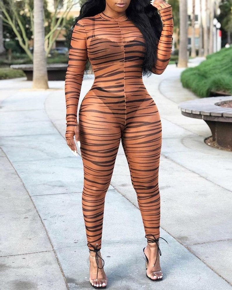 Mock Neck Zebra Print Sheer Mesh Jumpsuit