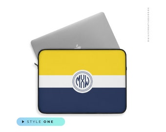 Navy Nautical Anchor Laptop Sleeve Case 15 15.6 Inch Briefcase Cover Protective Notebook Laptop Bag