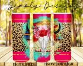 Bull Skull Sublimation, Straight Tapered, PNG Sublimation, Bull Floral Digital File, Cow Digital Design, 20 oz Skinny Tumble, Bull Skull