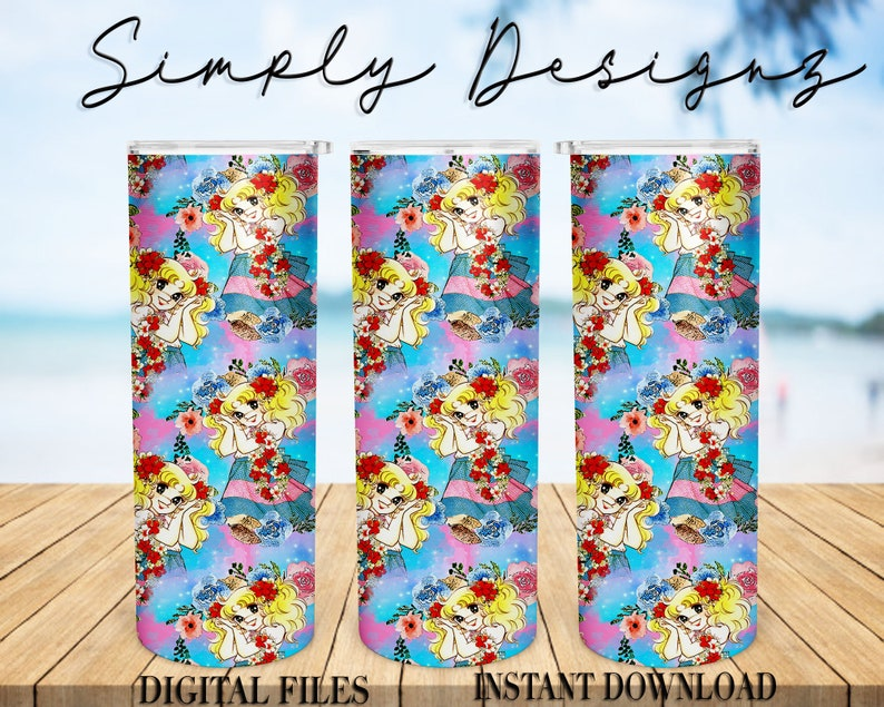 Digital Design Download Candy candy 20 oz Skinny Tumbler Candy Candy Tumbler Straight Tapered Digital File Floral Candy Candy Tumbler