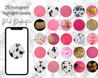 25 Dalmatian Print, Gold Pink Black White Theme Instagram Highlight Covers   Instagram theme