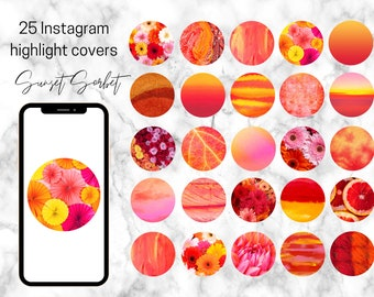 25 Vibrant Sunset Sorbet Theme Instagram Highlight Covers / Pink Orange Red Yellow Instagram Theme