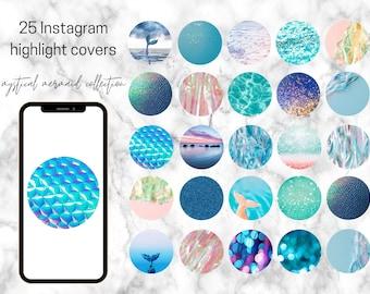25 Mermaid Themed Instagram Highlight Covers   Instagram Social icons   Branding   Mystical Mermaid
