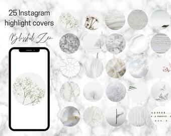 25 Blissful Serene Zen White Instagram Theme Highlight Covers   Social Icons   Social Media Highlights
