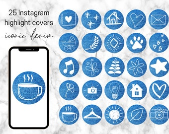 25 Blue Denim White Icon Instagram Highlight Covers   Bloggers & Influencers