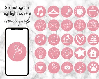 25 Pink Paper Textured Instagram Theme White Hand Drawn Icons