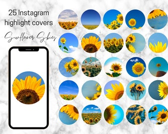 25 Sunflower and Blue Skies Instagram Highlight Covers