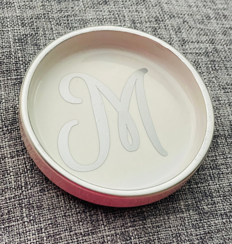 A-Z Silver Jewelry Dish with 1 Initial on it