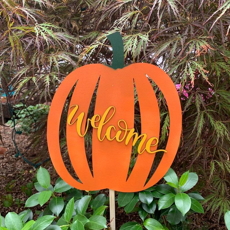 Round Pumpkin Garden Stake Orange