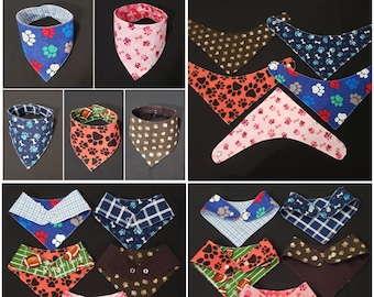 Rockabilly Sweetheart Reversible Dog Bandana with Pearl Snap Closures by The Peaceful Pup
