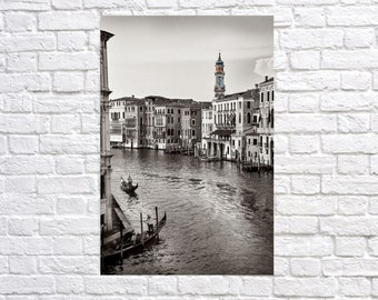 Grand canal of Venice Italy Contemporary black and white artistic photography. Professional printing.