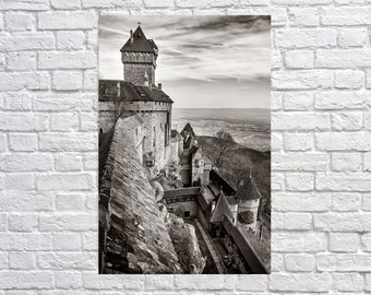 Haut-Kœnigsbourg castle in Alsace France. Contemporary black and white artistic photography. Professional printing.