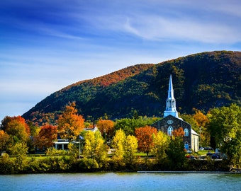 Photo of the mountain and the historic church of Mont-Saint-Hilaire in autumn seen from the city of Beloeil. 8 x 12 inch photo paper print.