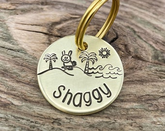 Beach dog tag, cute pet id tag with bunny