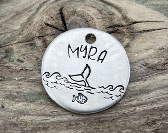 Ocean dog tag, small pet tag hand stamped with fish and whale, double-sided dog tag with up to 2 phone numbers or microchipped