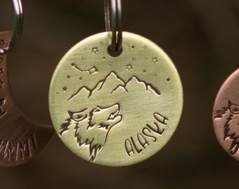Copper dog tag, wolf pet name tag