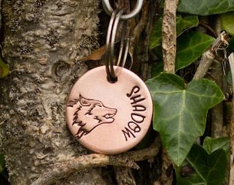 Rose gold dog tag, unique pet id tag, handstamped