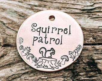 Squirrel patrol dog tag, hand stamped pet id tag with cute squirrel and leaf design, double-sided dog tag with phone number or microchipped