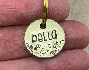 Custom cat tag, gold cat tag small