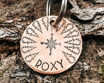 Compass dog tag, double-sided tree pet tag hand stamped with up to 2 phone numbers or microchipped