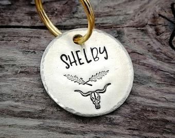 Pet id tag, small, boy, longhorn