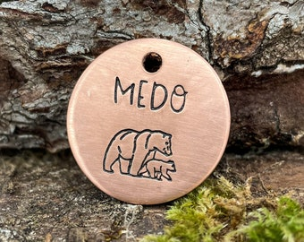 Custom heavy duty dog tag, hand stamped metal tag with 2 phone numbers or 'microchipped', mama bear design