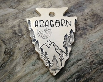 Pet id tag, arrowhead dog tag, with mountains and moon