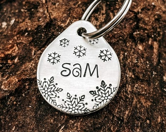 Snowflake dog tag, small teardrop pet tag hand stamped with winter design, double-sided dog tag with up to 2 phone numbers or microchipped