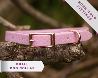 Extra small dog collar, eleagnt small dog collar, rose gold buckle