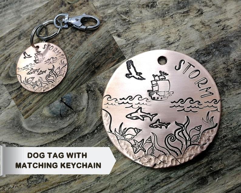 matching nautical dog id tag Keychain