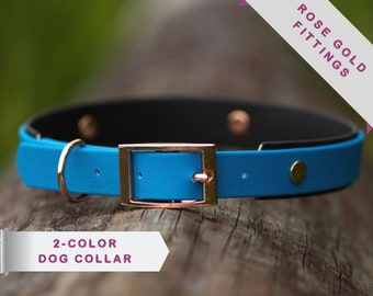 Waterproof dog collar, heavy duty dog collar, rose gold fittings, 2 colors