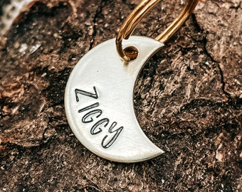 Cat tag small, mini moon pet id tag minimalist, hand stamped double-sided pet tag with phone number