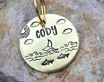 Ocean dog tag, metal pet tag sharks & whale design, hand stamped double-sided dog tag with up to phone numbers or microchipped