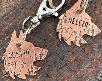 Rose gold dog tag, wolf pet id tag, handstamped